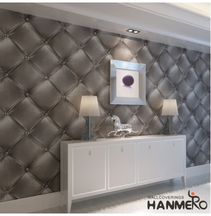 HANMERO Modern Luxury 3D Faux Leather Textured 10m Vinyl Mural Wallpaper for Living Bedroom (grey)