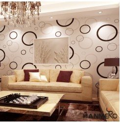 HANMERO 10m Super Larger European PVC Removable Polka Dot Abstract Curves Embossing Vinyl Wallpaper for Living Dining Bedroom Sofa Background (White Black Circle)