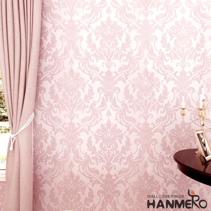 Hanmero 10m Classic Nonwoven Glitter Flocking Textured Damask Wall