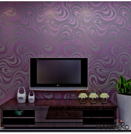 HANMERO Modern Minimalist Abstract Curves Glitter Non-woven 3D Wallpaper For Bedroom Living Room TV Backdrop Purple