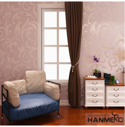 "Hanmero High-grade Flocking Victorian Embossed Wallpaper Roll Wallpaper 0.53m(20.8"")*10m(32.8"")=5.3㎡(57sqfeet) Pink"