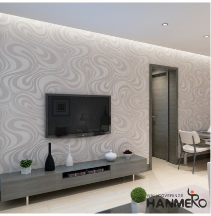 HANMERO Modern Minimalist Abstract Curves Glitter Non-woven 3d Wallpaper for Bedroom Living Room Tv Backdrop Cream White &Silver