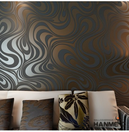 HANMERO Modern Minimalist Abstract Curves Glitter Non-woven 3D Wallpaper For Bedroom Living Room TV Backdrop Brown