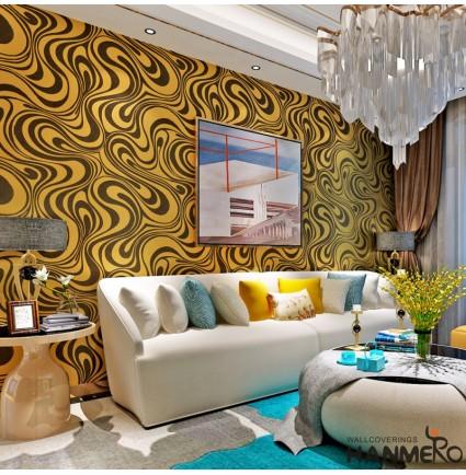 HANMERO Modern Minimalist Abstract Curves Glitter Non-woven 3D Wallpaper For Bedroom Living Room TV Backdrop ( Golden Yellow & Black )