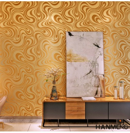 HANMERO Modern Minimalist Abstract Curves Glitter Non-woven 3D Wallpaper For Bedroom Living Room TV Backdrop Gold