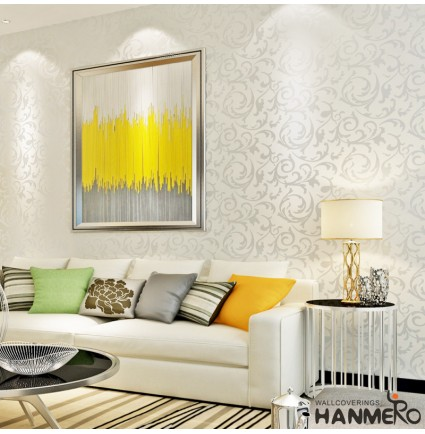 HANMERO High End Modern Flocked Wall Paper for Living Bedroom Wall Decoration Silver Gray