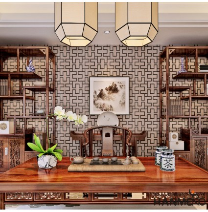 HANMERO Wallcovering Modern Geometric Lattice Maze Box PVC Vinyl Embossed Textured Wallpaper Rolls Coffee Tv Living Room Bedroom Wall Paper