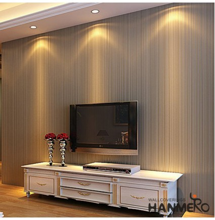 Hanmero 20.86-by-393.7-Inch Long Murals PVC Plant Cloth with Soft Nap Nonwovens Vinyl Vertical Stripe Wallpaper