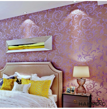 Hanmero Vintage Textured Wallcoverings Embossed Wall Paper Roll for Living Room Bedroom Background (Purple)