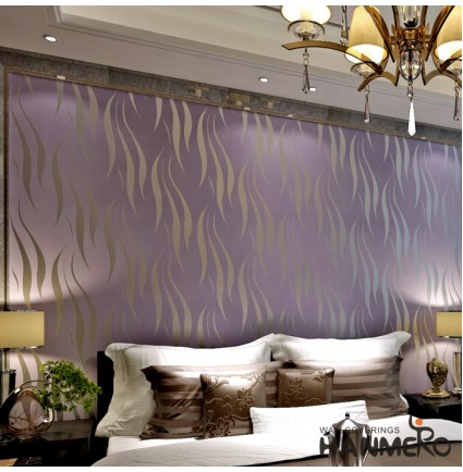 Hanmero Modern Minimalist Non-woven Water Plant Pattern 3D Flocking Embossed Wallpaper Roll For Living Room Bedroom Walls Purple