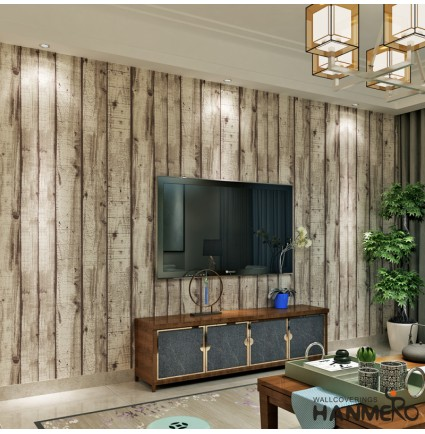 HANMERO Rustic Wood wallpaper Looks Real Up Wall Coverings 0.53 x 10 m for Living Room Sofa Background (White)