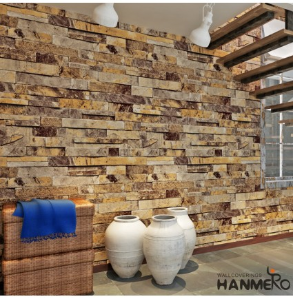 HANMERO 3D Rural Imitation Faux Deep Grey Brick Stone Block Textured Vinyl Wall Paper Murals Roll for Living Room/Bedroom/TV Background Home Decor 20.86'' x 397.3''