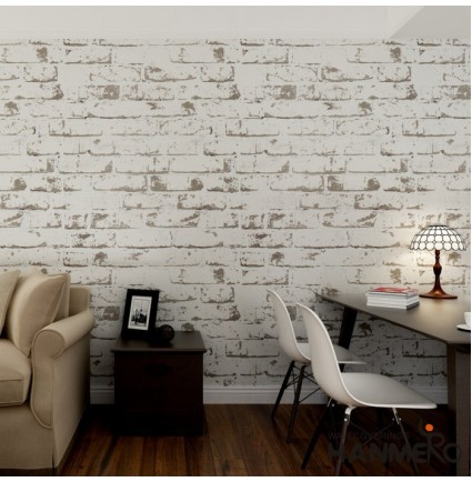 HANMERO Rural Style Imitation Brick Wall Pattern Looks Real Up Wallpaper Long Murals PVC Vinyl Dimensional 3D Gray Wall Paper TV Living Room Bedroom Decor (White)